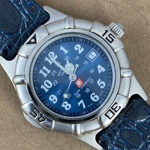 Rotary Silver Tone Blue Swiss Commando 24/7 Watch